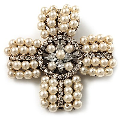White Pearl Style Diamante Cross Brooch (Silver Finish)