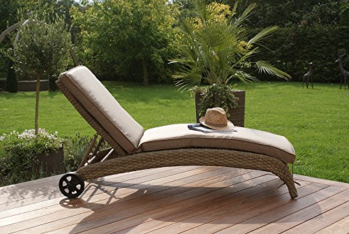 aston polyrattan sonnenliege gartenm bel kissen beige g nstig kaufen. Black Bedroom Furniture Sets. Home Design Ideas