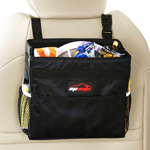 EPAuto Waterproof Car Trash Bin Leakproof Auto Litter Bag with Side Pocket, Black (Car Litter Bag compare prices)