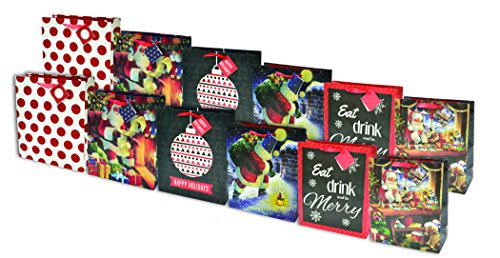 Christmas Gift Bags with Glitter, Large (12 Pack)