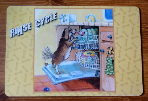 Dog Puppy Placemat With Dog Doing The Rinse Licking The Dishes In Dishwasher front-118358