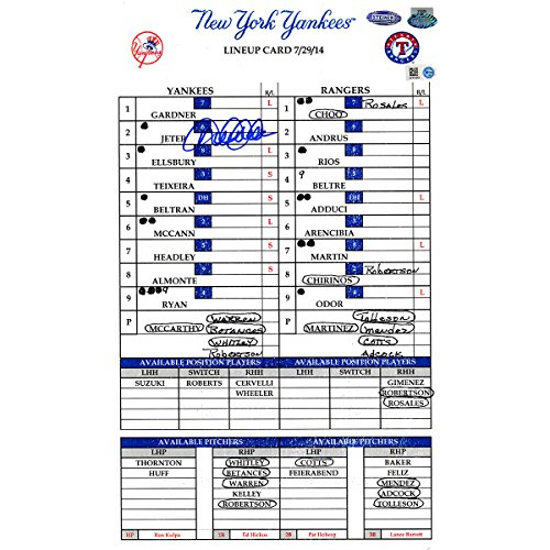 Derek Jeter Signed Yankees At Rangers 7-29-2014 Game Used Lineup Card (Mlb Auth) (Hz510282) front-1087279