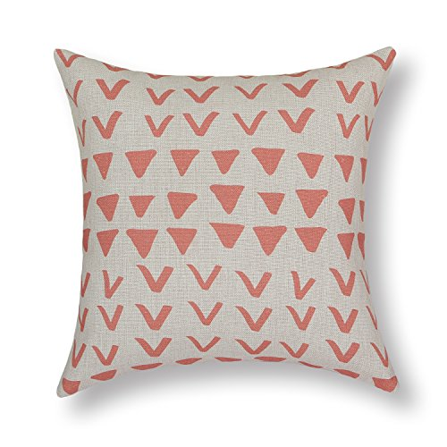"Euphoria Home Decorative Cushion Covers Pillows Shell Cotton Linen Blend Geometric Range Scatter Print Coral Color 18"" X 18"" front-613114"