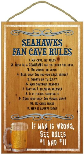 Seattle Seahawks Fan Cave Rules Wood Sign at Amazon.com