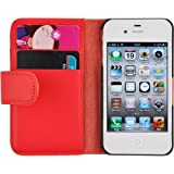JAMMYLIZARD Red Leather Wallet Flip Case & Film for Apple iPhone 4 & 4Sby JAMMYLIZARD