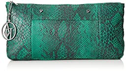 Armani Jeans Snake Printed Clutch, Green, One Size