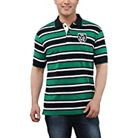 The Cotton Company Men's Cotton Stripe Patterned Polo T Shirt - Green - S