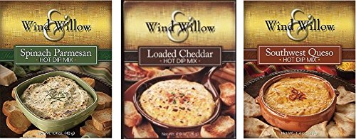 Wind & Willow Hot Dip Mix Variety Pack - Loaded Cheddar, Spinach Parmesan, and Southwest Queso (Super Hot Cheese Dip compare prices)