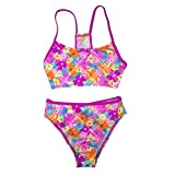 Speedo Girls 2 Piece Bikini Bathing Suit Swimsuit, Pink Flowers Size 14