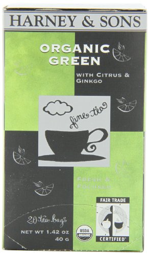 Harney and Sons Organic Green Tea Bags, Citrus and Ginkgo, 20 Count