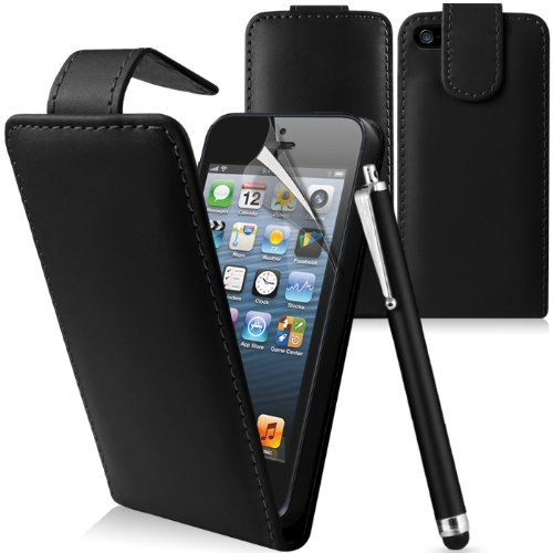 Supergets® Apple Iphone 5 Premium Black Top Flip Leather Case, Screen Protector, Capacitive Touch Screen Stylus