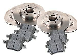 "2000 GMC Yukon Denali XL 2500 2WD, 4.83"" Rr Hub Hole Front and Rear Brake Pads and Brake Rotors OEM Replacement Direct Fit Brake Kit"
