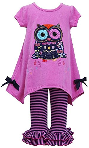 Bonnie Baby Baby-Girls Infant Magenta Owl Applique Hanky Leggings Outfit, 18 Months front-963923