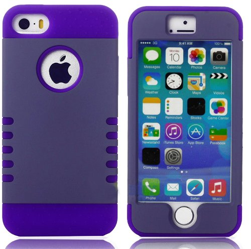 Mylife (Tm) Gray + Purple Shield 3 Layer (Hybrid Flex Gel) Grip Case For New Apple Iphone 5C Touch Phone (External 2 Piece Full Body Defender Armor Rubberized Shell + Internal Gel Fit Silicone Flex Protector + Lifetime Waranty + Sealed Inside Mylife Autho