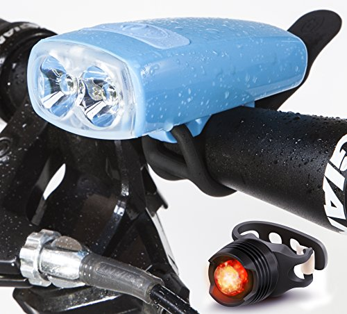 Cycle Torch Night Owl Bike Light USB Rechargeable - Perfect Urban Commuter Bicycle Light Set - Bright TAIL LIGHT Included - Compatible with Mountain, Road ,Kids & City Bicycles (Sky Blue)