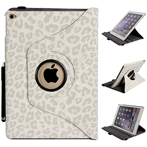 Click to buy iPad Air 2, iPad Air 2 Case - E LV iPad Air 2 Case Cover SHOCK ABSORPTION (ROTATING STAND) Full Body Hybrid Protection PU LEATHER Case Cover for APPLE iPad Air 2 with 1 Stylus and 1 Screen Protector - LEOPARD WHITE - From only $89.99