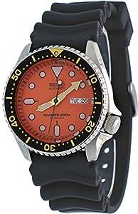 SEIKO Stainless Steel Automatic Diver Orange Dial Black Rubber Strap SKX011J1
