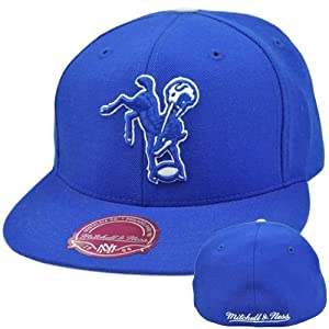 NFL Mitchell & Ness Throwback Logo Hat Cap Fitted Indianapolis Colts TK42 7 3 4 by Mitchell & Ness