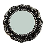 Indian Handmade Round Shape Mirror Home Decor Vintage Style Antique Mirror Women Cosmetic Vanity Travel Small Silver Mirror