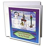 gc_17491_2 Beverly Turner Christmas Design - Snowman with Bunny Friends 3d Merry Christmas to Friend - Greeting Cards-12 Greeting Cards with envelopes