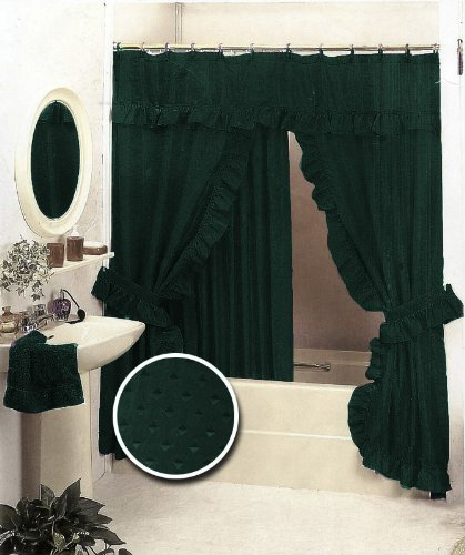 New Double Swag Fabric Shower Curtain Set Hunter Green Valance