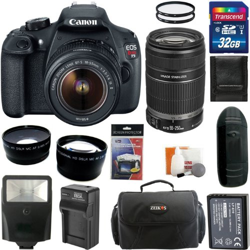 Canon Eos Rebel T5 Digital Camera Slr Kit With Canon Ef-S 18-55Mm Is Ii+Canon Ef-S 55-250Mm F/4.0-5.6 Is Telephoto Zoom Lens + 32Gb Card And Reader + Wide Angle And Telephoto Lenses + Battery + Filters + Accessory Kit