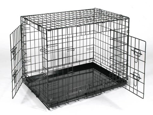 """Suitcase Folding Metal Dog Crate Kennel With Metal Pan 43"""" front-384056"""