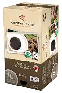 Reunion Island RI58551 Extra Bold Fair Trade and Organic French Roast Single Cup Coffee Pods, 16-count