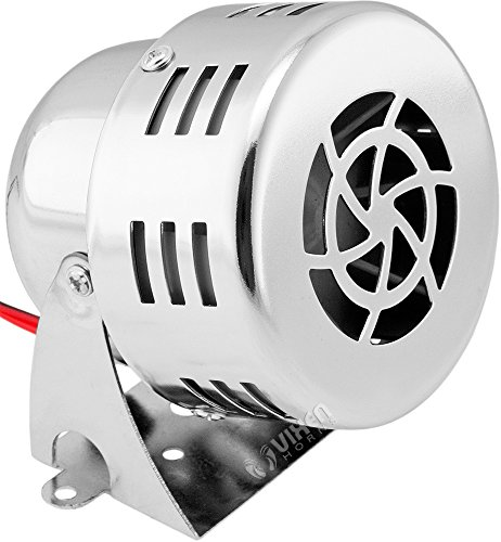 Vixen Horns Loud 110dB Electric Motor Driven Horn/Alarm/Siren (Air Raid) Small/Compact Chrome 12V VXS-9060C