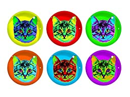 FRINGE STUDIO Andy Cat Glass Magnet Set, 6 Magnets in a Gift Box (304090)