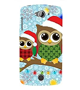 ANIMATED CUTE OWLS WEARING RED WINTER HATS PERCHING ON A TREES BARNCH IN BLUE BACKGROUND 3D Hard Polycarbonate Designer Back Case Cover for Acer Liquid Z530