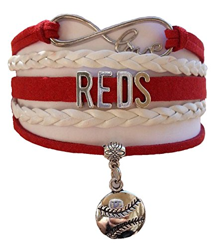 Cincinnati Reds MLB Red & White Infinity Braided Leather Bracelet with Silver Baseball Emblem Pendant Charm - Let's Go Reds!!! (Buy 2 MLB Infinity Bracelets from Brogan's Heroes and Get 1 (Homemade Indian Boy Costumes)