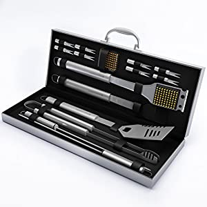 BBQ Grill Tools Set with 16 Barbecue Accessories -Perfect Christmas Gifts Idea -Stainless Steel Utensils with Aluminium Case- Men Complete Outdoor Grilling Kit for Dad Home-Complete