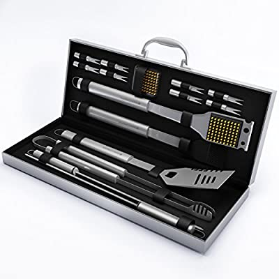 BBQ Grill Tools Set with 16 Barbecue Accessories -Perfect Christmas Gifts Idea -Stainless Steel Utensils with Aluminium Case- Men Complete Outdoor Grilling Kit for Dad by Home-Complete