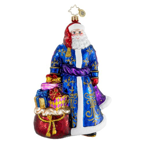 Christopher Radko Grand Old Gent Glass Santa Christmas Ornament – 7″H.