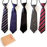 Elesa Miracle Boys Pre-tied Elastic Neck Strap Tie Little Boys Necktie Value Set of 5 (Set A)