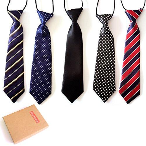 Elesa Miracle Boys Pre-tied Elastic Neck Strap Tie Little Boys Necktie Value Set of 5 (Set A) (Baby Boy Ties compare prices)