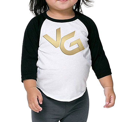 Kid's VG 3/4 Raglan Sleeves Baseball Tee Shirt Jersey For Boys And Girls Age Of 2 - 6 Years Old Black 5-6 Toddler (Robot Controler compare prices)