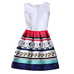 Jiayiqi Womens Lovely Cartoon Animal Print Floral Sleeveless Mini Dress