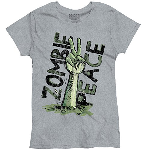 Funny T Shirt Dead Zombie Peace Sign Walking Monster Womens Tee