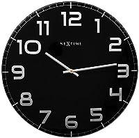 NeXtime Classy Large Reloj de Pared, Reloj de Cocina, Reloj, Reloj de Oficina, Reloj de Sala, Deco, Vidrio, Negro, Ø 50 cm, 3105zw por Nextime