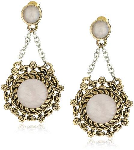 Bronzed by Barse Rose Quartz Post Earrings