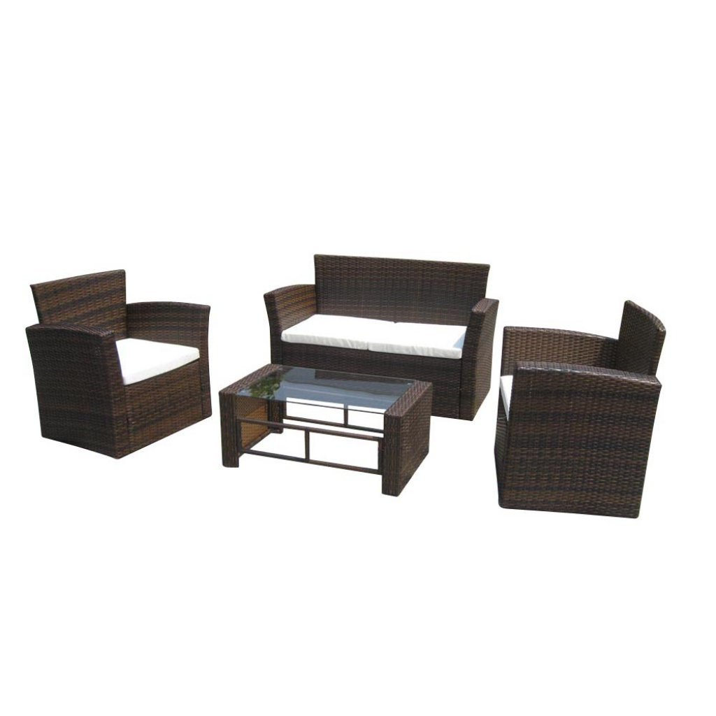 gartenm bel rattan lounge set georgia tisch braun g nstig. Black Bedroom Furniture Sets. Home Design Ideas