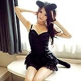 【未来ワールド】28黒猫コスプレ衣装猫耳シッポ付きハロウィンキャットウーマンコスチューム&網タイツ&収納袋