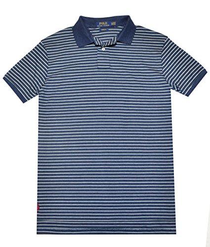 Polo Ralph Lauren Men Custom Fit Polo Stripe Polo Shirt (L, Navy Heather)
