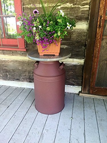 Rusty Milk Can, Milk Can Container, Rustic Front Porch Decor, Rustic wood table, Large Patio Decor, Large Front Proch Decor (Milk Can Table compare prices)