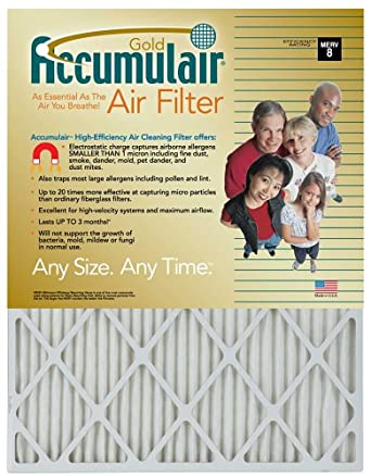28x34x1 (27-1/2x33-1/2) Accumulair Gold Filter MERV 8 4-Pack