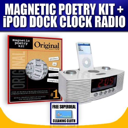 MAGNETIC FRIDGE POETRY KIT + SUNRISE CLOCK RADIO WITH IPOD DOCK / BOOMBOX