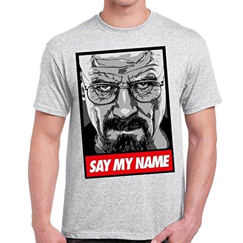 CHEMAGLIETTE! - Maglietta Breaking Bad Heisenberg Say My Name T-Shirt Maglia Maniche Corte Uomo, Colore: Cenere, Taglia: M