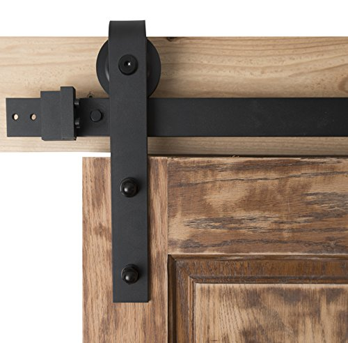 Blacksmith Hardware BD1015 Series 6Ft Modern Interior Barn Wood Steel Sliding Door Hardware Set, Bent Strap, Black powder Coat (Vintage Barn Door Hardware compare prices)